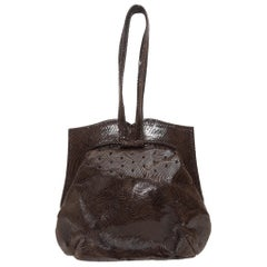 Michelle LaLonde Dark Brown Embossed Leather Evening Bag