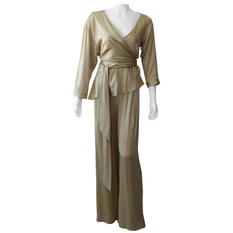 MICHELLE MASON Nude Silk Pants and Wrap Top Ensemble Size 6/8