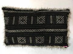 Michelle Nussbaumer Designed Italian Faux Fur Mudcloth Pillow (Lines & Dots)