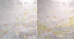Silver leaf oil painting, Michelle Sakhai, Breath I & II (Diptych)
