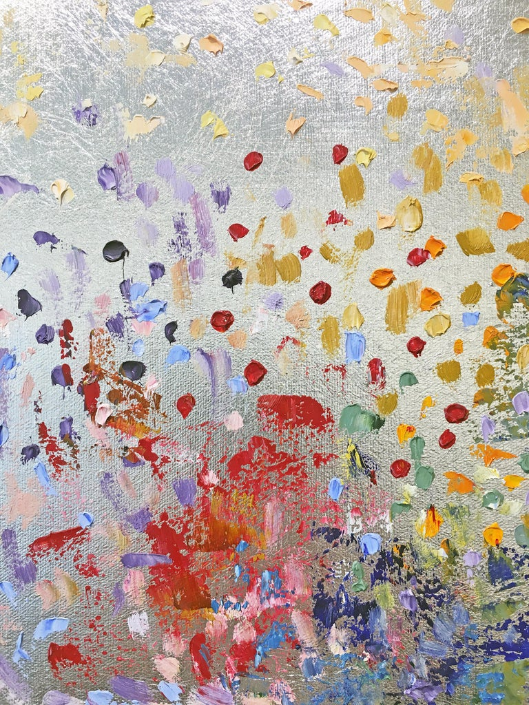 Sunshine - Gray Abstract Painting by Michelle Sakhai