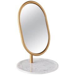 Michelle Table Mirror with Tubular Steel Frame, Smoked Mirror and Marble