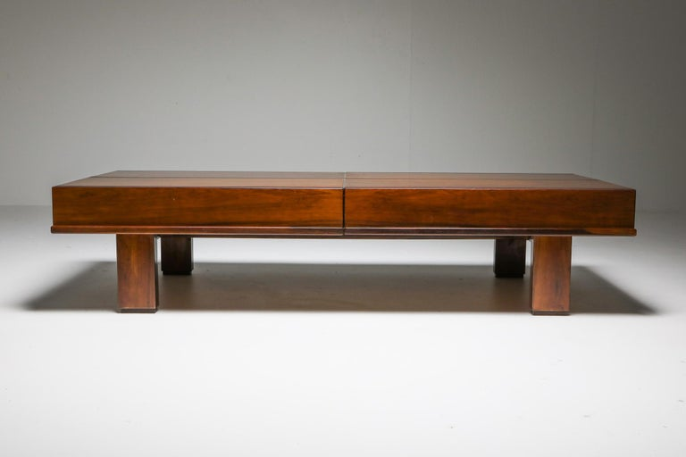 20th Century Michelluci Walnut Coffee Table with Storage For Sale