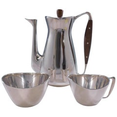 Michelsen Danish Sterling Silver Coffee Set 3-Piece Modernism