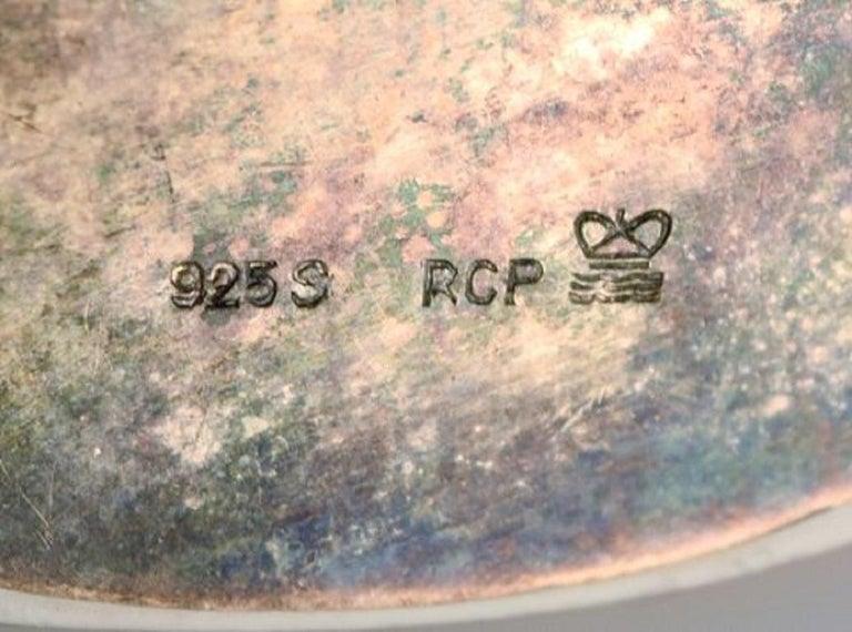 Michelsen for Royal Copenhagen, Flora Danica Porcelain & Sterling Silver Brooch 2