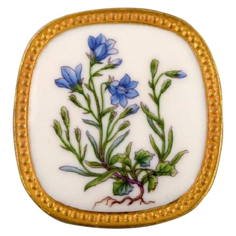 Michelsen for Royal Copenhagen, Flora Danica Porcelain & Sterling Silver Brooch