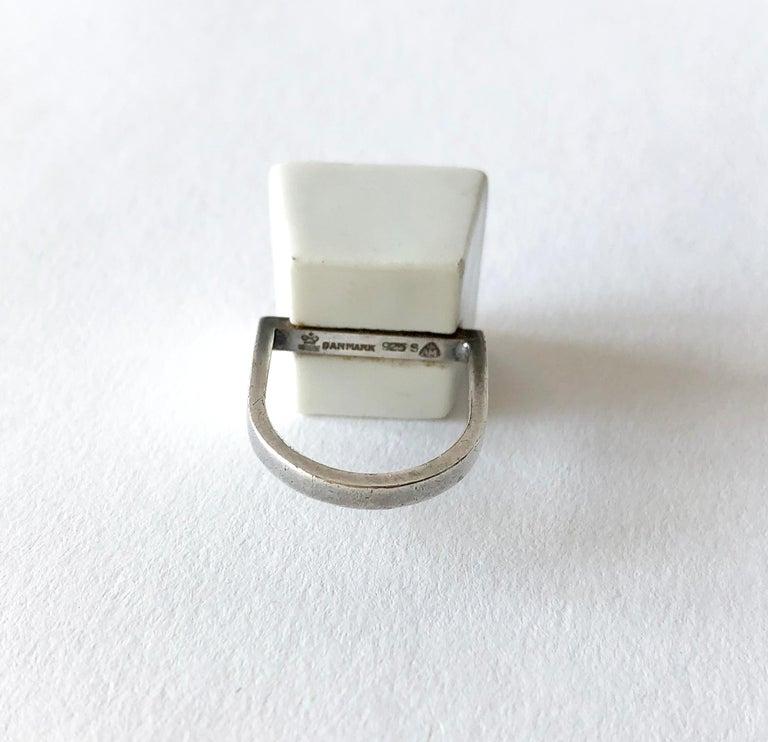 Women's Michelsen Royal Copenhagen Porcelain Molten Sterling Danish Modernist Ring For Sale