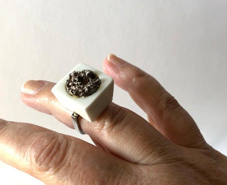 Michelsen Royal Copenhagen Porcelain Molten Sterling Danish Modernist Ring For Sale 1