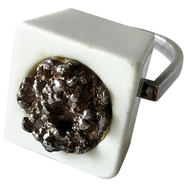 Michelsen Royal Copenhagen Porcelain Molten Sterling Danish Modernist Ring For Sale