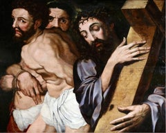 Christ & The Two Thieves - 16th Century Oil, Religious Scene by Michiel Coxie
