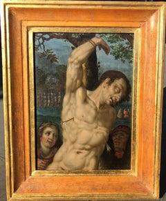 Religious Oil painting of Male Nude Saint Sebastian Sixteenth Century