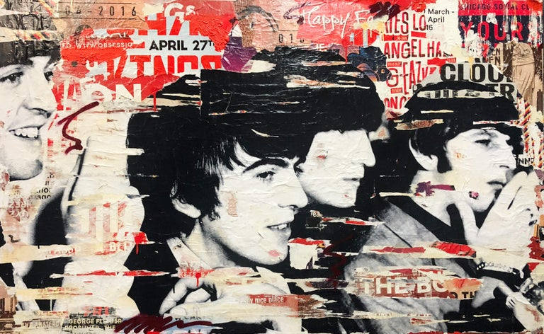 Beatles - Original Collage on Canvas - 39 x 63 in. - Mixed Media Art by Michiel Folkers