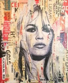 Brigitte Bardot - Original Collage on Canvas