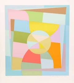Geometric Abstract Silkscreen by Gloeckner, 1974