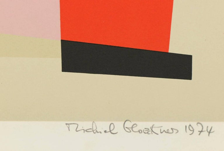 Signed and numbered (118/125) lithograph by noted abstract artist Michiel Gloeckner.   A painter of colorful abstractions, Michiel Gloeckner was born in Germany in 1915.  The son of a prominent art collector, he was educated at the University of