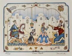 Purim Shpiel, Judaica Folk Art Jewish Lithograph Chabad Artist