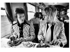 David Bowie and Ronson. Lunch on train to Aberdeen
