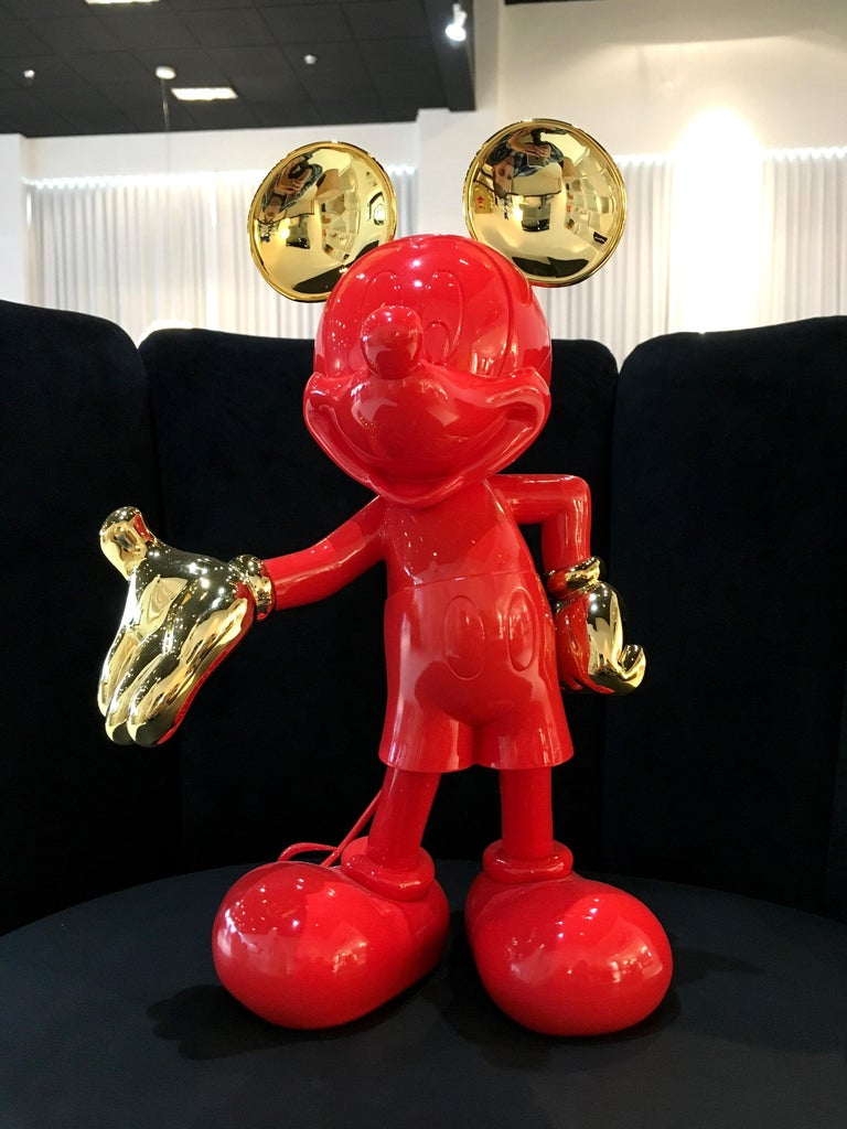 French In Stock in Los Angeles, Mickey Mouse, Glossy Red / Gold Pop Sculpture Figurine For Sale