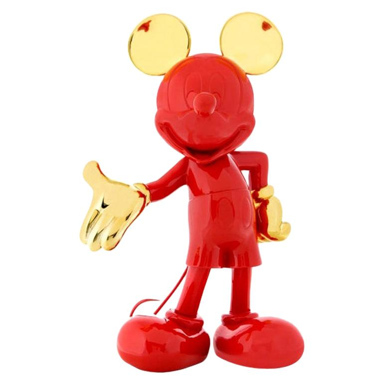 In Stock in Los Angeles, Mickey Mouse, Glossy Red / Gold Pop Sculpture Figurine For Sale