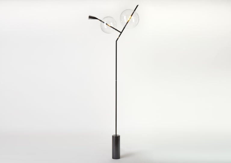 Contemporary Mickey Black Minimal Sculptural Floor Lamp Dimmable Touch Sensor Brass, Glass For Sale