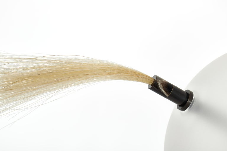 Mickey Dark Aged Edition Horn Detail, Pale-Blond Horsehair, Satin Glass, Brass In New Condition For Sale In Novellara, IT
