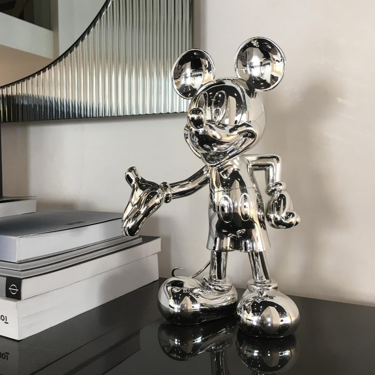 Chrome Mickey Metallic pop sculpture figurine, Made in France For Sale