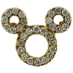 Mickey Mouse 10 Karat Gold and 30 Diamonds Pin Pendant Disney Company Issued