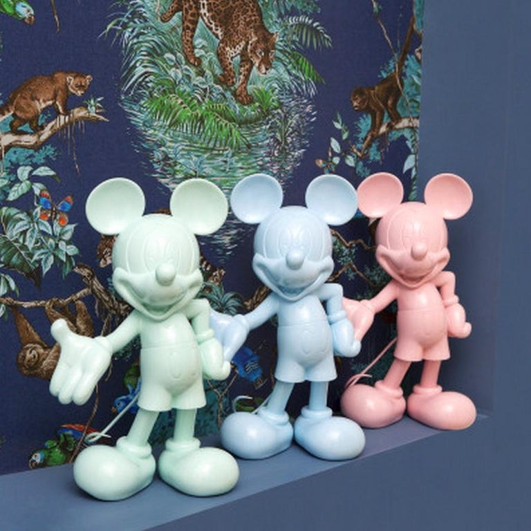 In Stock in Los Angeles, Mickey Mouse Glossy Pastel Blue, Pop Sculpture Figurine In New Condition For Sale In Beverly Hills, CA