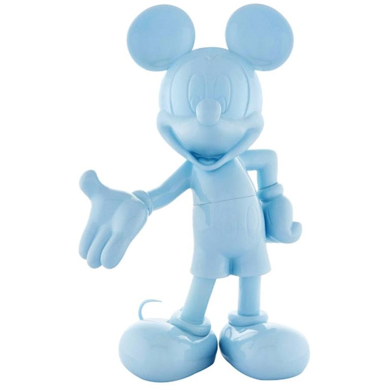 In Stock in Los Angeles, Mickey Mouse Glossy Pastel Blue, Pop Sculpture Figurine For Sale