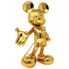 In Stock in Los Angeles, Mickey Mouse Metallic Chrome Gold, Pop Figurine