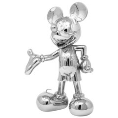 In Stock in Los Angeles, Mickey Mouse Metallic Chrome Silver, Pop Figurine