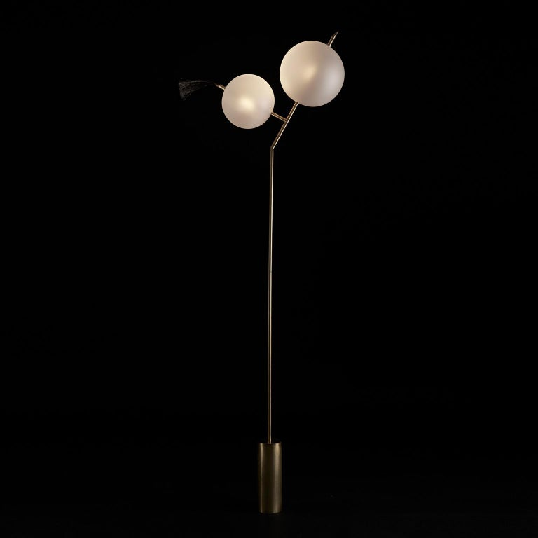 Mickey Sculptural Floor Lamp Dimmable, Brushed Brass, Satin-White Blown Glass For Sale 4