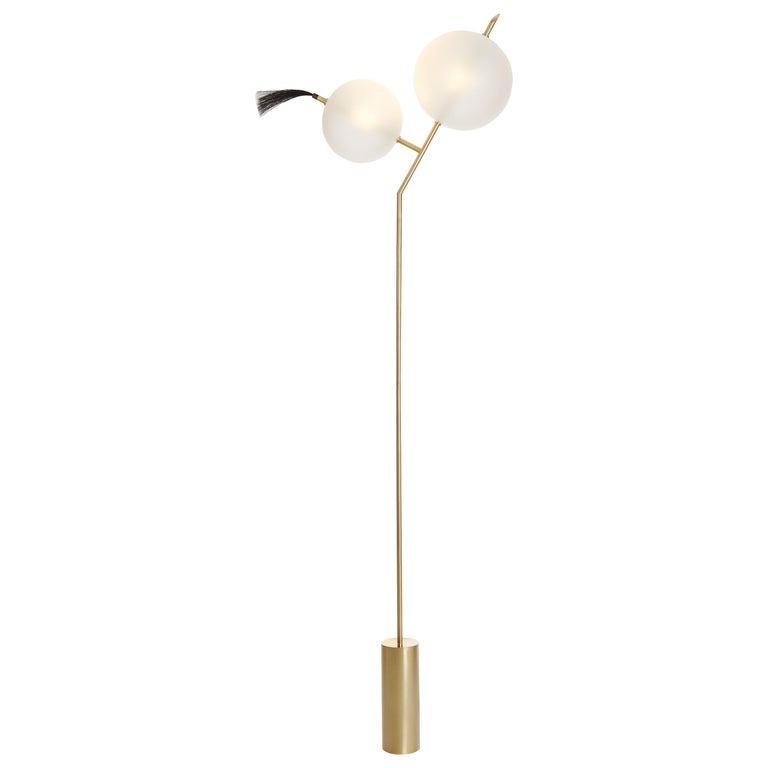 Mickey Sculptural Floor Lamp Dimmable, Brushed Brass, Satin-White Blown Glass For Sale