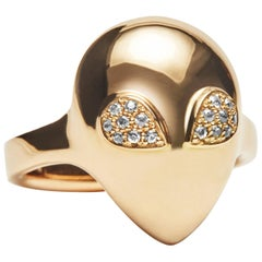 Micro Alien Ring, 14 Karat Rose Gold Diamond Ring