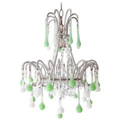 Micro Beaded White and Green Opaline Drops Chandelier, circa 1920
