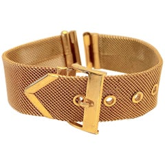 Micro Gold Hardware Mesh 'Buckle' Style Adjustable Watch Strap