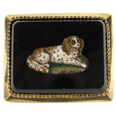 Micro Mosaic 15 Karat Gold Pendant Brooch King Charles Spaniel