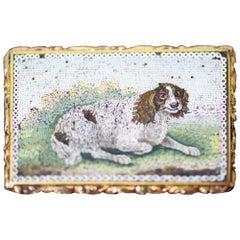 Micro Mosaic 18 Karat Gold Framed Dog Picture Brooch