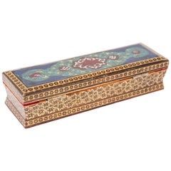 Micro Mosaic Indo Persian Inlaid Jewelry Pen Box