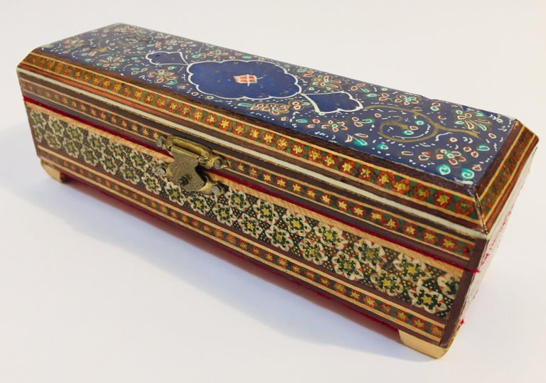 Micro Mosaic Indo Persian Inlaid Jewelry Trinket Box For Sale 3