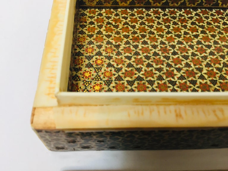 Micro Mosaic Indo Persian Inlaid Jewelry Trinket Box For Sale 4