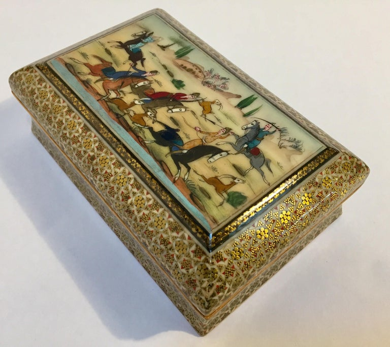 Micro Mosaic Indo Persian Inlaid Jewelry Trinket Box For Sale 5