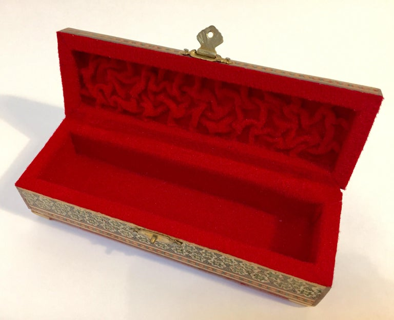 Micro Mosaic Indo Persian Inlaid Jewelry Trinket Box For Sale 9