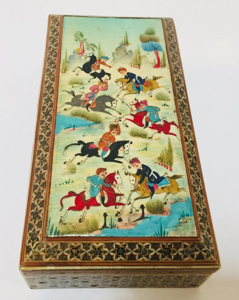 Handcrafted marquetry Indo Persian wood inlay micro mosaic with miniature hand painted scene or men playing polo.