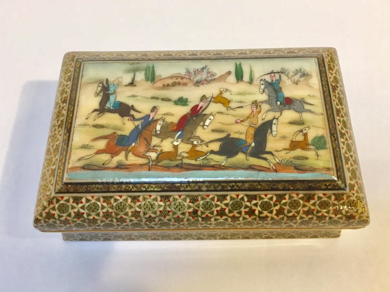 Marquetry Micro Mosaic Indo Persian Inlaid Jewelry Trinket Box For Sale