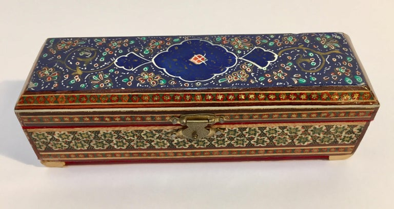 Inlay Micro Mosaic Indo Persian Inlaid Jewelry Trinket Box For Sale