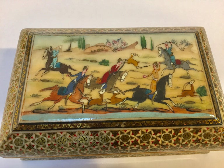 Micro Mosaic Indo Persian Inlaid Jewelry Trinket Box In Good Condition For Sale In Los Angeles, CA