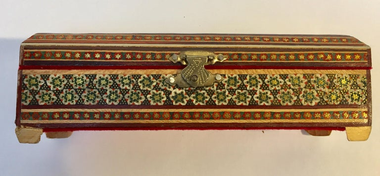 Wood Micro Mosaic Indo Persian Inlaid Jewelry Trinket Box For Sale
