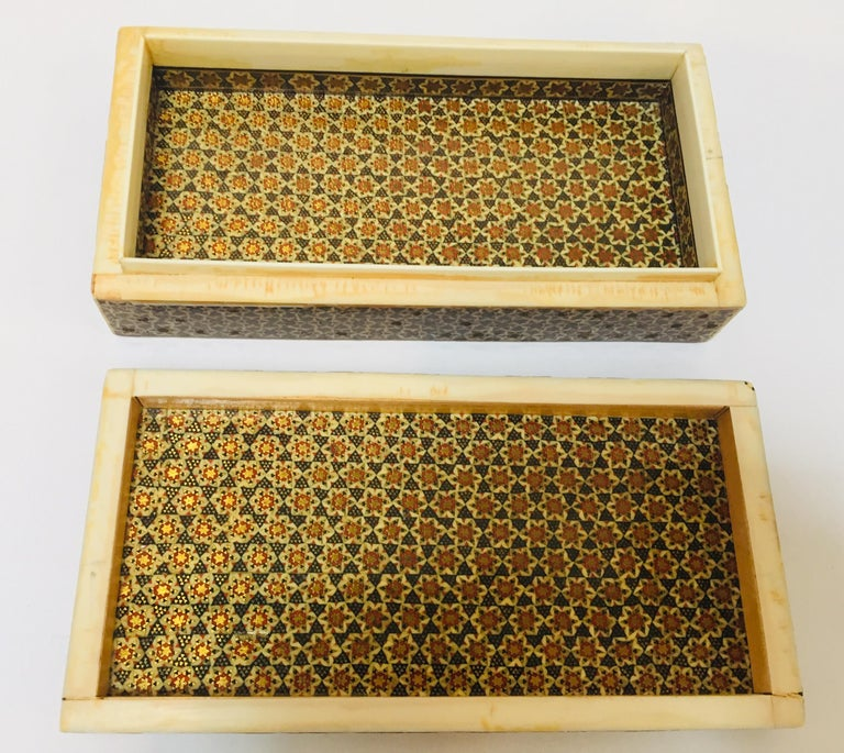 Micro Mosaic Indo Persian Inlaid Jewelry Trinket Box For Sale 1