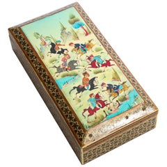 Micro Mosaic Indo Persian Moorish Inlaid Jewelry Trinket Box